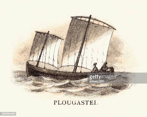 Fishing Boat of Plougastel, Brittany 19th Century