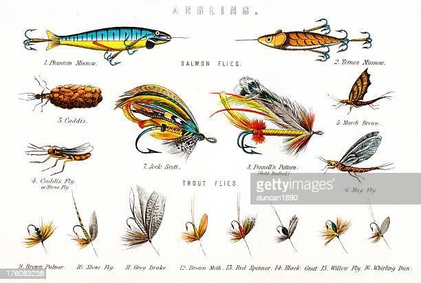 Pesca voa-inclinação cuidadosa
