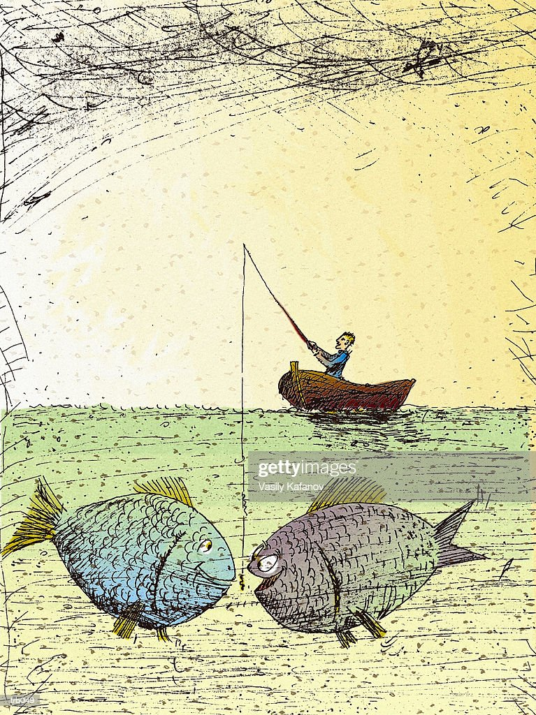 Fishing For Big Fish : Stockillustraties