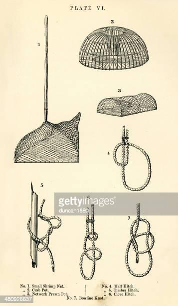 ilustraciones, imágenes clip art, dibujos animados e iconos de stock de pesca de los net y equipos - red de pesca
