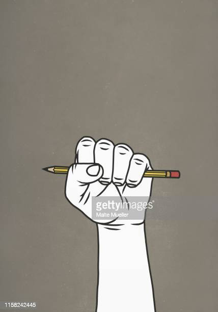 stockillustraties, clipart, cartoons en iconen met fist gripping pencil - authors