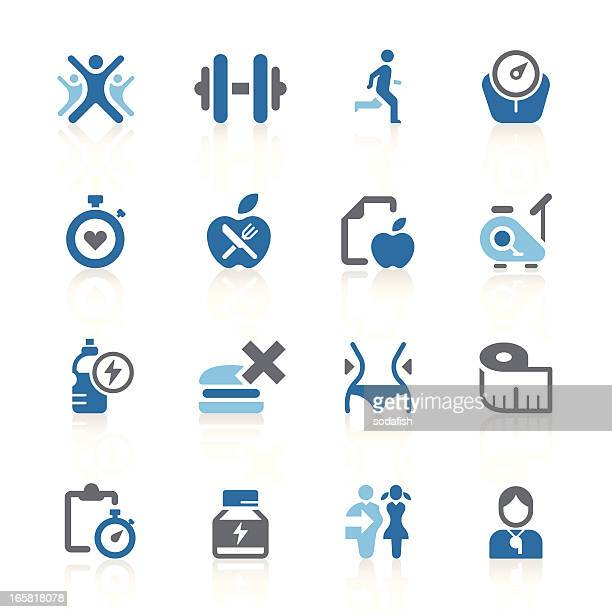 fitness & exercise icons | azur series - cardiovascular exercise stock illustrations, clip art, cartoons, & icons