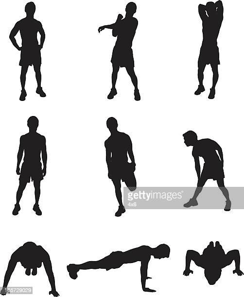 fitness men stretching and working out - stretching stock illustrations, clip art, cartoons, & icons