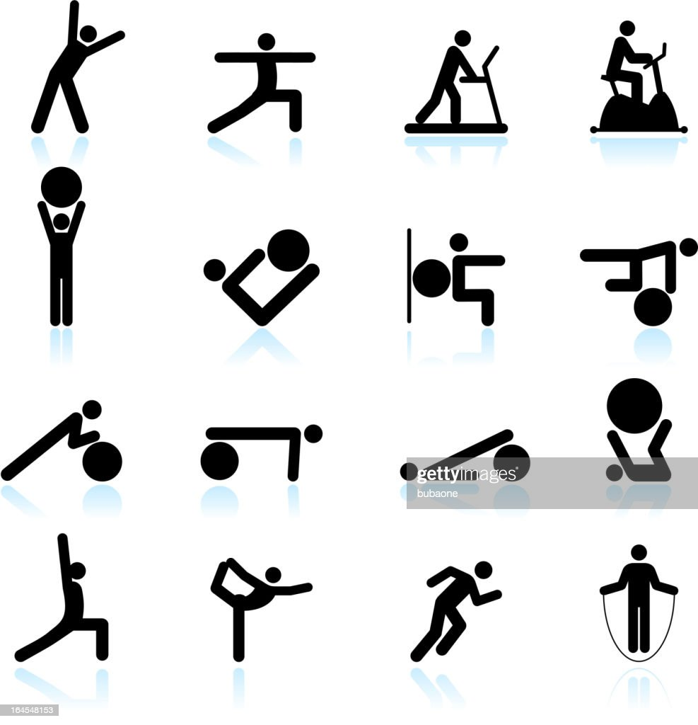 Fitness yoga and palates exercise black & white icon set : stock illustration