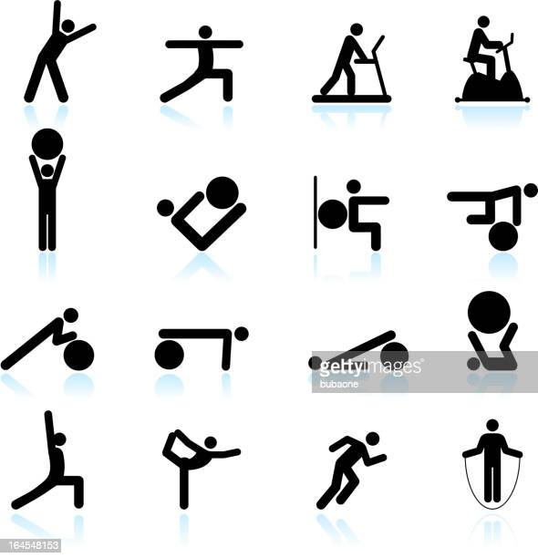 fitness yoga and palates exercise black & white icon set - touching toes stock illustrations, clip art, cartoons, & icons
