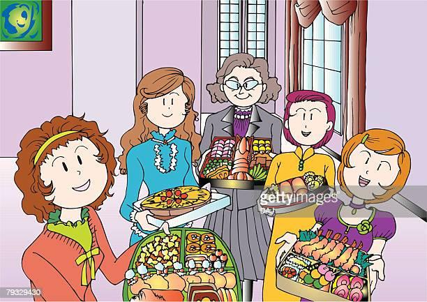 Five Adult Women Holding a Party Food, Illustrative Technique