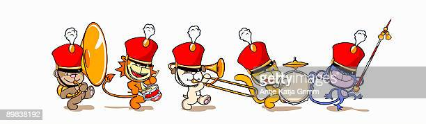 five animals in a marching band - snare drum stock illustrations, clip art, cartoons, & icons