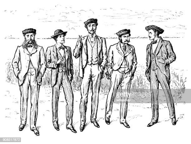 Five bewhiskered Victorian men standing in a line