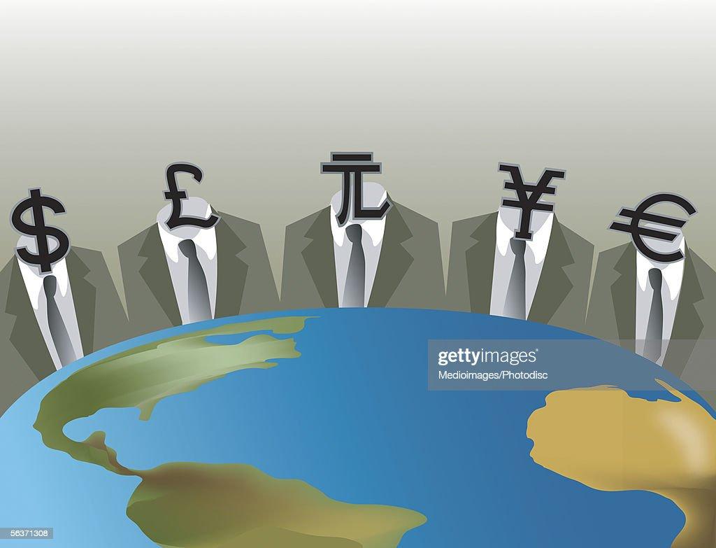 Five businessmen sitting around a globe : stock illustration