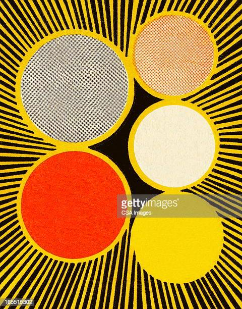 five color circles - small group of objects stock illustrations