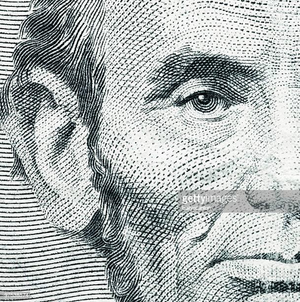 US Five Dollar Bill Closeup of Abraham Lincoln.