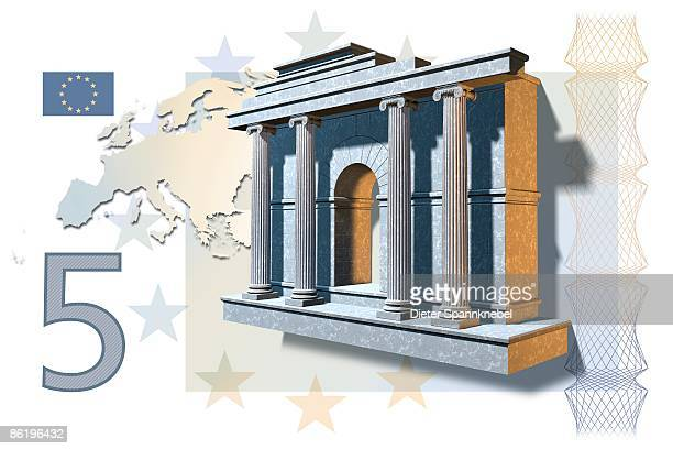 five euro banknote stylized three-dimensional - european union euro note stock illustrations, clip art, cartoons, & icons