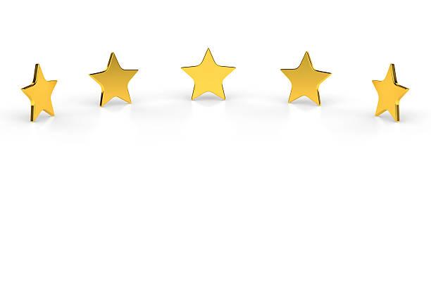 Five Golden Stars On White Background Wall Art