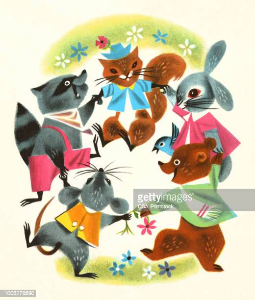 five little animals dancing - cute mouse stock illustrations
