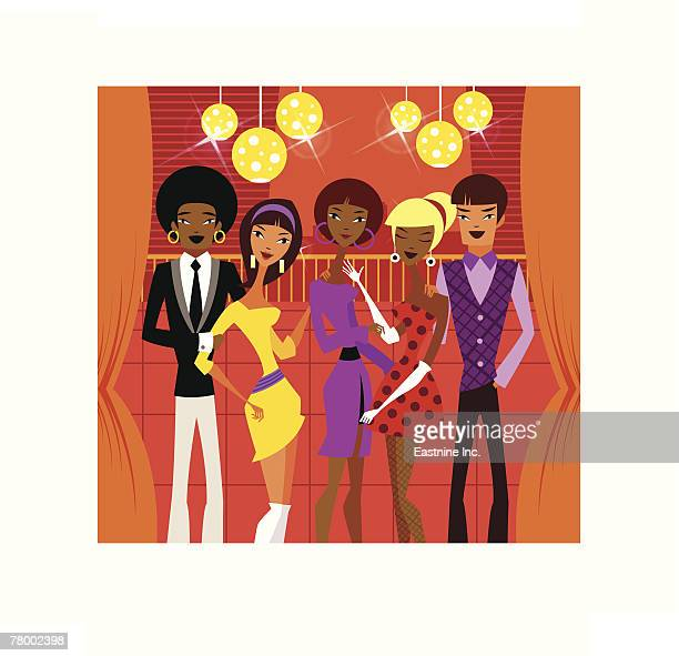 five people standing together in a nightclub - updo stock illustrations, clip art, cartoons, & icons
