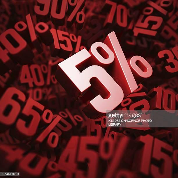five per cent discount, illustration - percentage sign stock illustrations