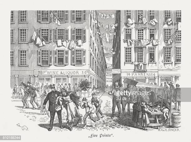 Cinq Points, Manhattan, Nouveau York Ville, du bois gravé, publié 1880