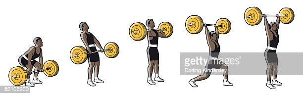 Five stages of weightlifter lifting barbell
