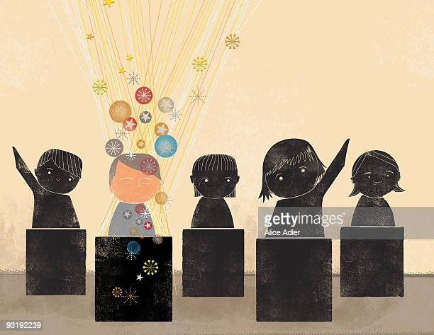 five students - individuality stock illustrations