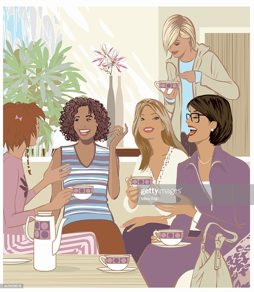 Five Women Having a Cup of Tea and Talking : Stock Illustration