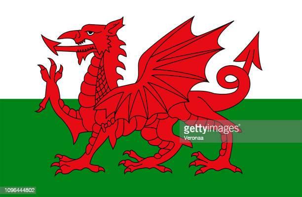 welsh flag - welsh flag stock illustrations