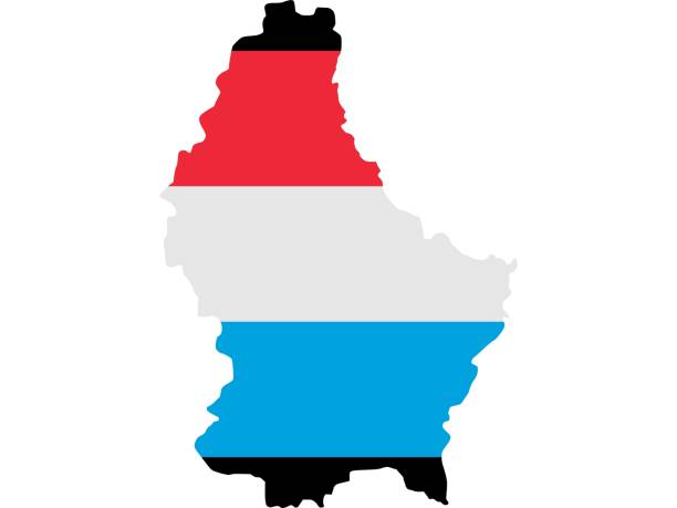 Flag in form form of the geographical country, Luxembourg, Western Europe