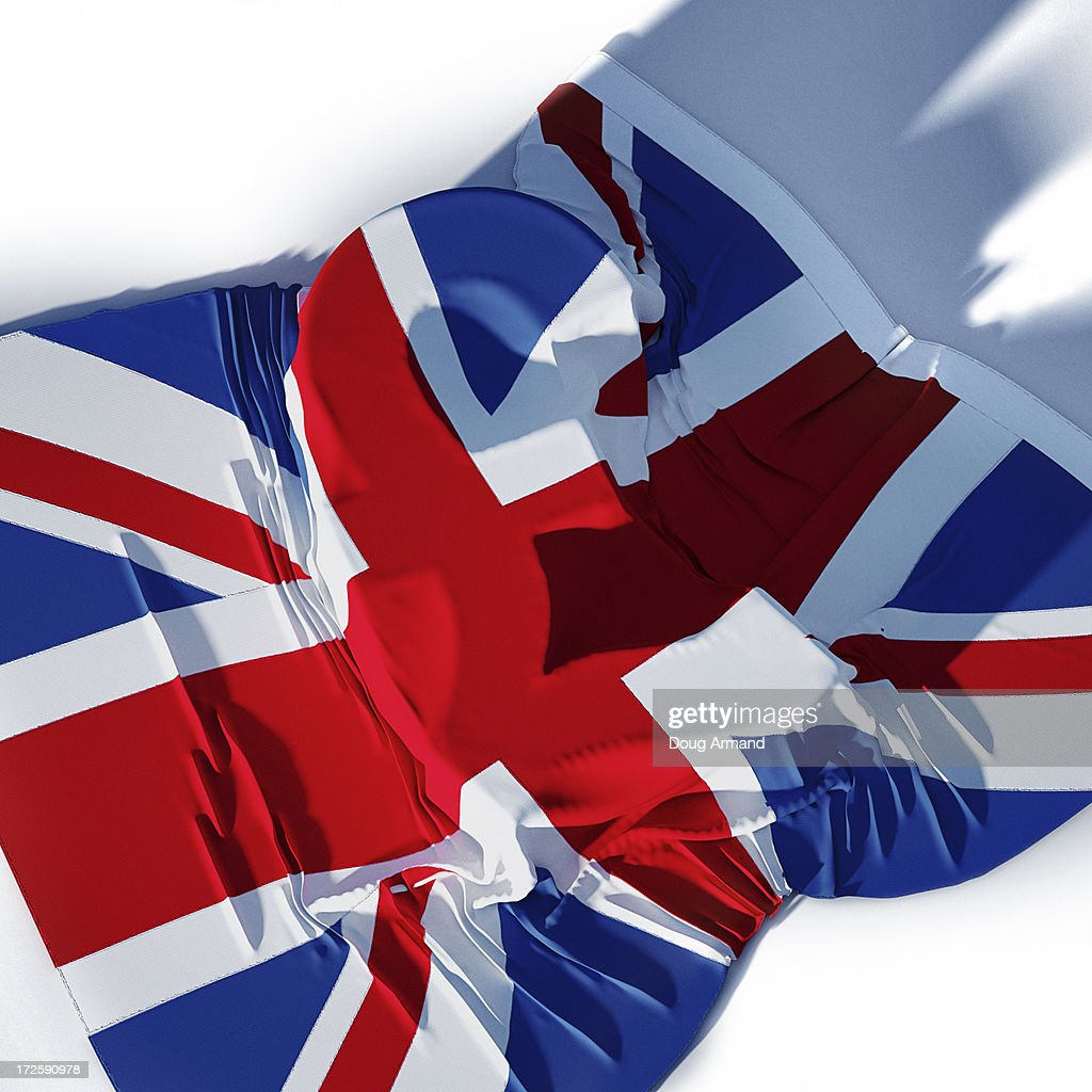 Uk Flag Laying Over Uk Pound Currency Symbol Stock Illustration