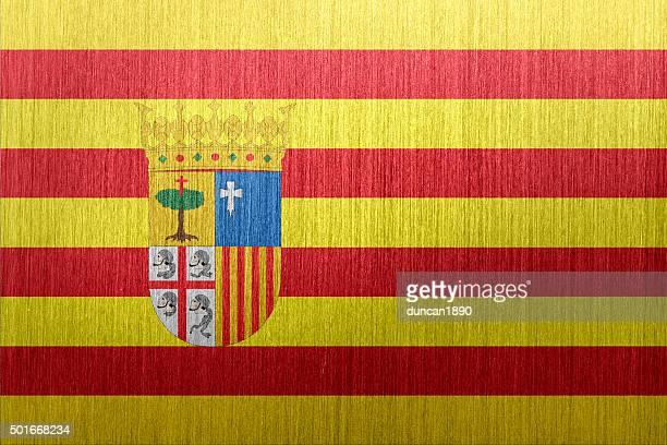 aragon 、スペイン国旗の上に艶消しメタルの背景 - アラゴン点のイラスト素材/クリップアート素材/マンガ素材/アイコン素材