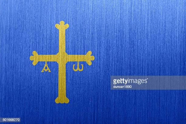 flag of asturias, spain on a brushed metal background - asturias stock illustrations
