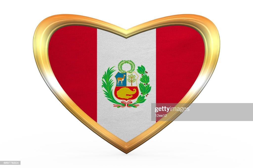 Flagge Von Peru In Herz Form Goldener Rahmen Stock-Illustration ...