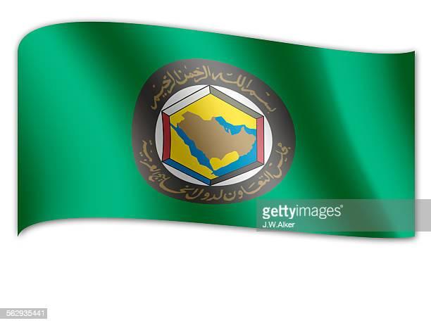 stockillustraties, clipart, cartoons en iconen met flag of the persian gulf cooperation council - samenwerkingsraad van de arabische golfstaten