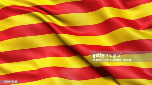 illustrations, cliparts, dessins animés et icônes de flag of the region catalonia, spain, 3d illustration - catalogne