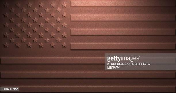 us flag on rusty metal, illustration - national flag stock illustrations