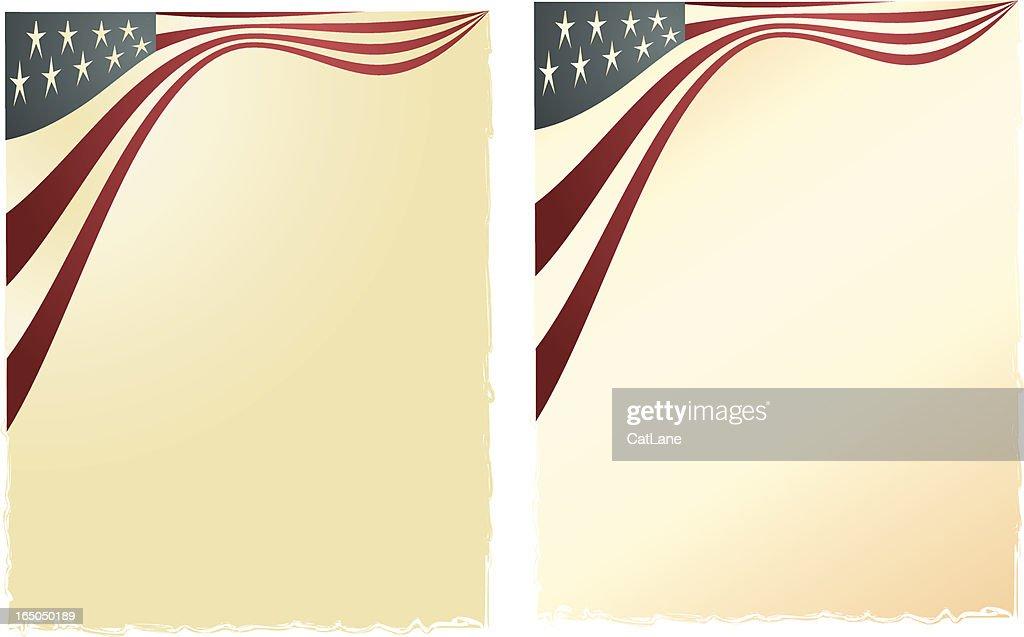 Flag on torn paper background