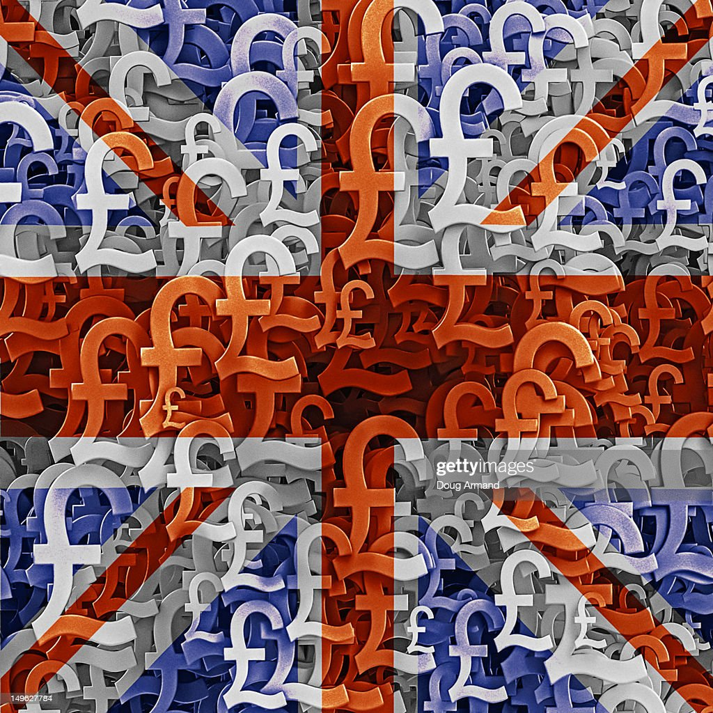 Uk Flag Overlaid On Mutiple Pound Currency Symbols Stock