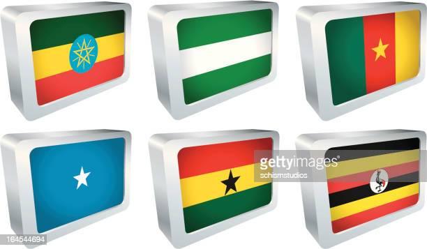 flag tile - africa group - ghana flag stock illustrations, clip art, cartoons, & icons
