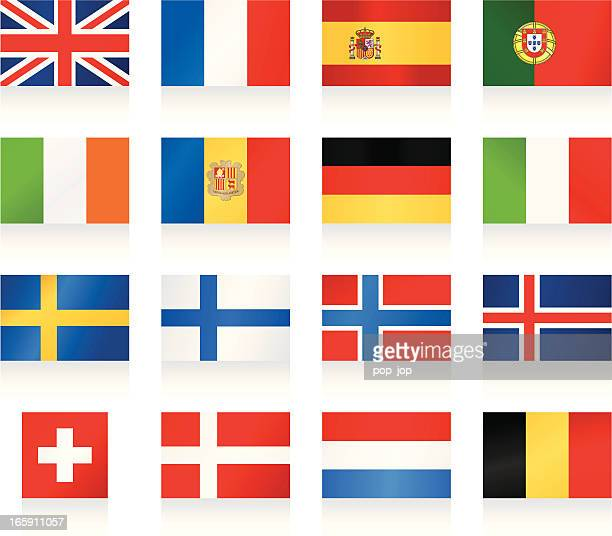 flags collection 1 - western and nothern europe - italy vs norwegian stock illustrations