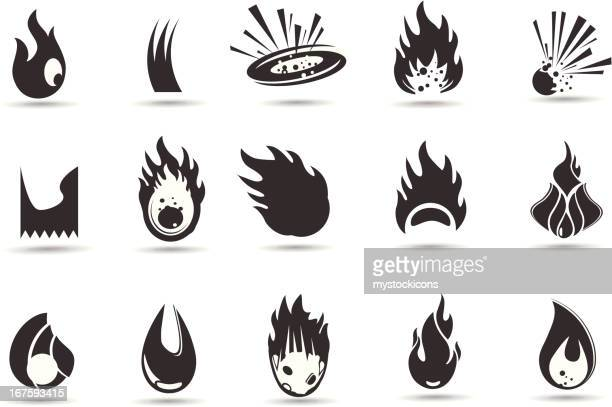 flame and fire symbols - sparks stock illustrations, clip art, cartoons, & icons