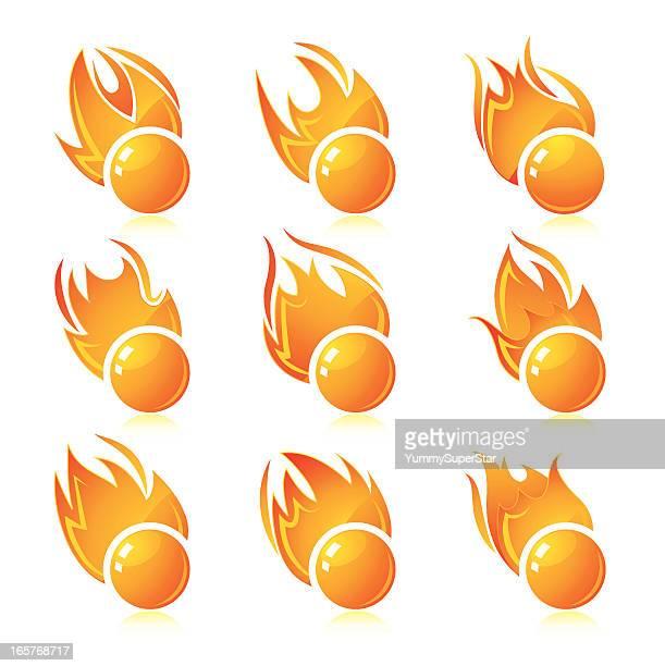 ilustraciones, imágenes clip art, dibujos animados e iconos de stock de conjunto de botones de llama - llamas de fuego