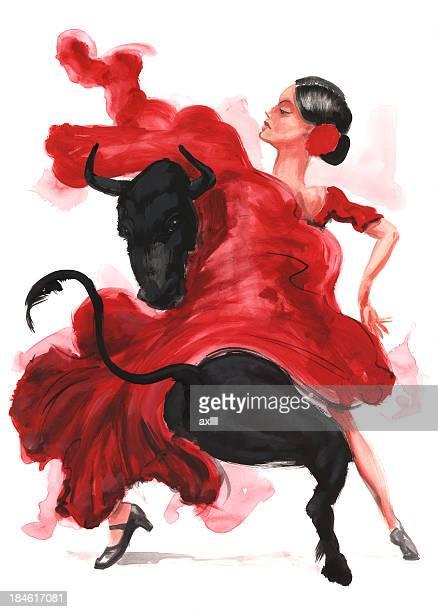 ilustraciones, imágenes clip art, dibujos animados e iconos de stock de flamenco. - toreo