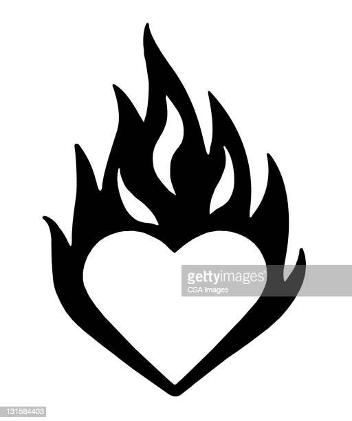 flaming heart - black and white stock illustrations