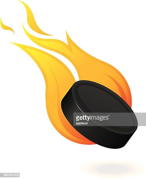 flaming hockey puck - individual event stock illustrations