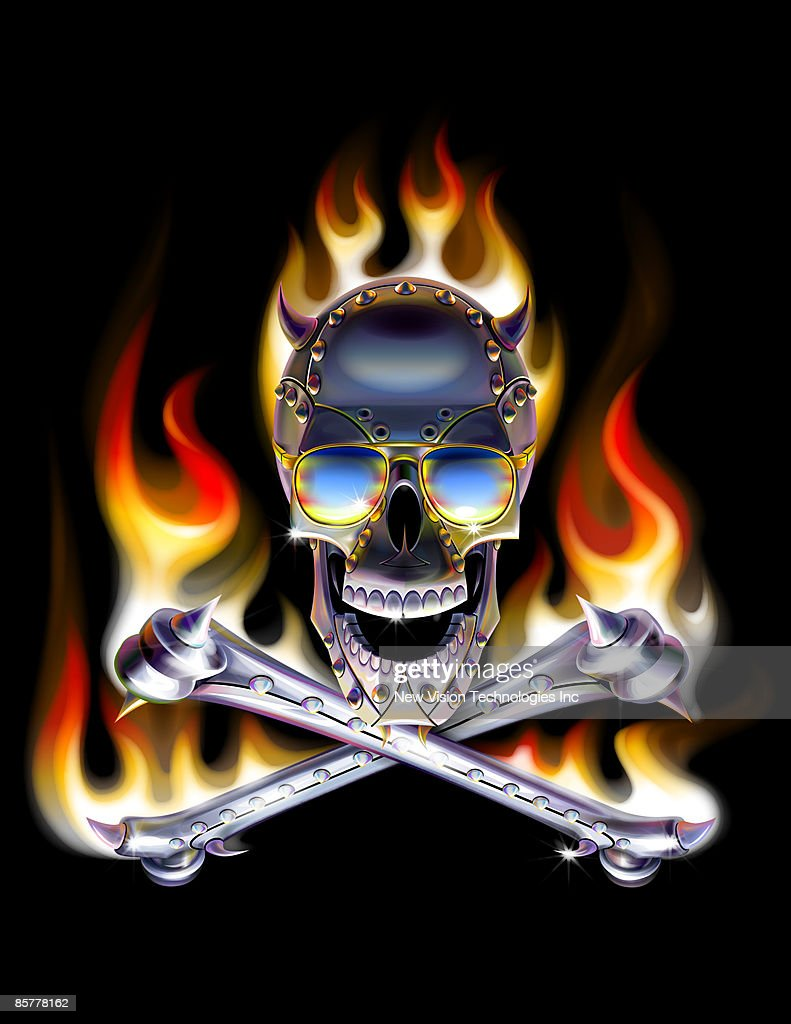 Flaming Skull And Crossbones Stock Illustration | Getty Images