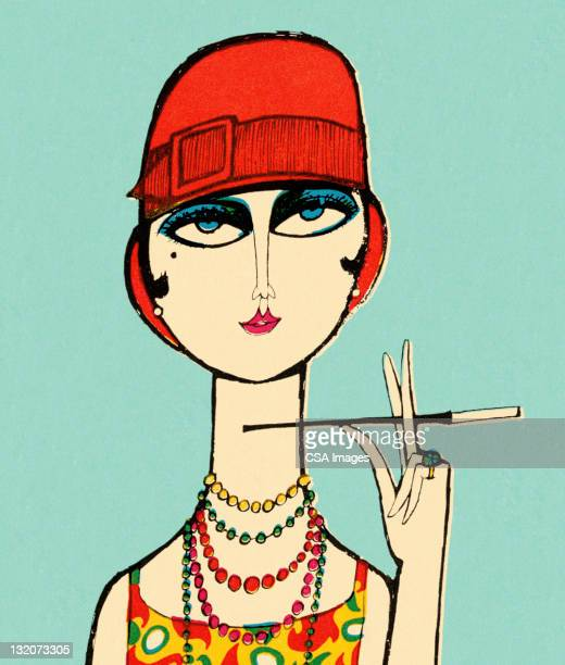 Flapper Lady With Cigarette Holder