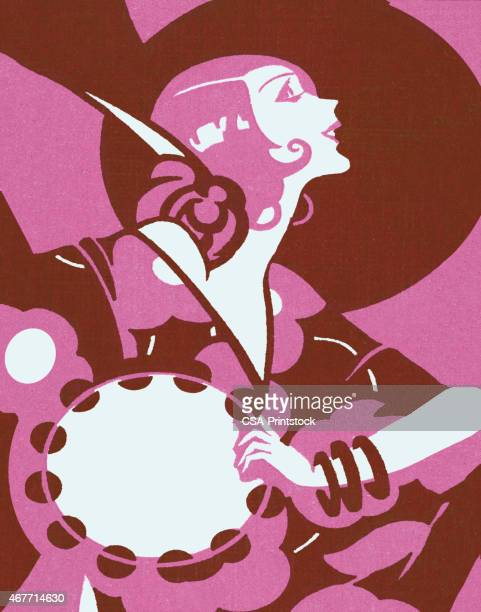 ilustrações de stock, clip art, desenhos animados e ícones de vanguardista dos anos 20 mulher e pandeireta - pandeiro