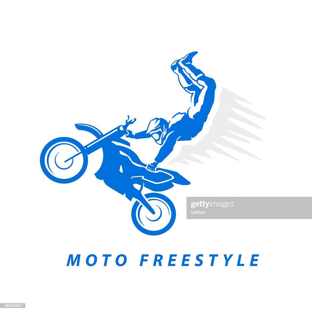 Motofree flat moto free style racer icon isolated on white background stock