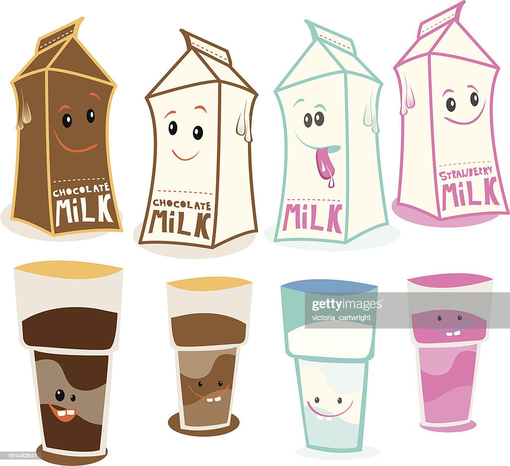 Flavoured milk character vector illustration