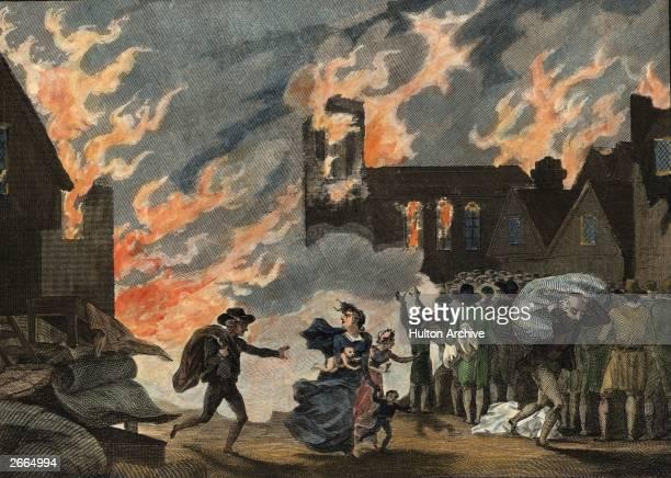 Fleeing the Great Fire of London, 1666. Original Artwork: Illustration - pub. 1815