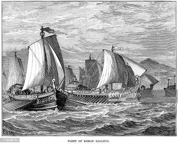 ilustrações, clipart, desenhos animados e ícones de frota de roma antiga galleys - roman