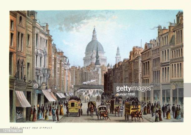fleet street and st paul's, victorian london, 19th century - english culture stock illustrations